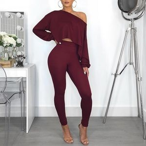 Sweaters - Women's Two Piece Burgundy Set